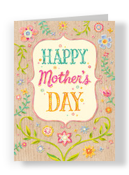 Floral on Wood Grain Mother's Day Card 5x7 Folded Card