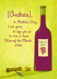 Mom's Day Wine Club 5x7 Folded Card