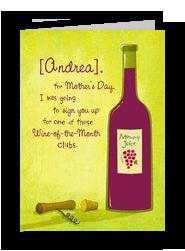Mom's Day Wine Club 5x7 Folded Card
