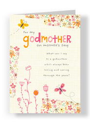 Godmother Floral with Butterflies 5x7 Folded Card