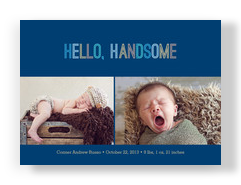 Handsome Boy Photo Birth Announcement 7x5 Flat Card