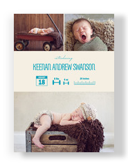 Photo Birth Announcement Infograph Boy 5x7 Flat Card