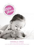 Little Sister Photo Birth Announcement 5x7 Flat Card
