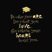Grad Gold Lettering on Black 4.75x4.75 Folded Card