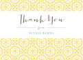 Classic Pattern Grad Thank You Yellow 5.25x3.75 Folded Card