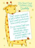 First Father's Day Giraffe 5x7 Folded Card