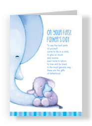 Cute First Father's Day Elephants 5x7 Folded Card
