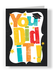 Colorful Graduation Lettering 5x7 Folded Card