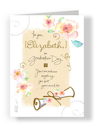 Grad Watercolor Floral with Lettering 5x7 Folded Card