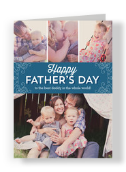 Happy Father's Day Photos and Line Pattern 5x7 Folded Card