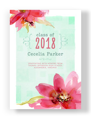 Watercolor Floral Grad Announcement 5x7 Flat Card
