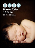 Photo Baby Announcement Blue 5x7 Flat Card