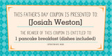 Father's Day Coupon From Kids 8x4 Flat Card
