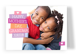 Cute Mother's Day Photo with Hearts 7x5 Folded Card