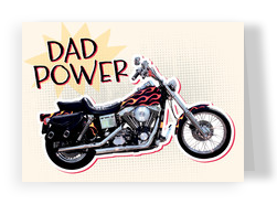 Dad-power Motorcycle 7x5 Folded Card