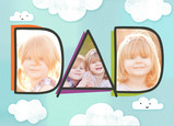 Happy Dad's Day Clouds with Photos 7x5 Folded Card
