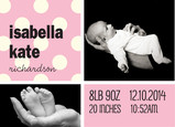 Pink Baby Announcement Dots 7x5 Flat Card