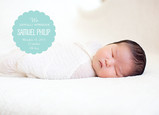 Blue Overlay Baby Announcement 7x5 Flat Card
