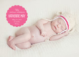 Pink Overlay Baby Announcement 7x5 Flat Card