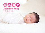 Photo Baby Announcement Pink 7x5 Flat Card