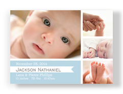 Boy Announcement Ribbon and Photos 7x5 Flat Card