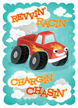 Revvin' & Racin' Pickup Truck Birthday 5x7 Folded Card
