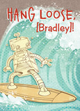 Surfing Robot Birthday Card 5x7 Folded Card