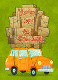 Off to College - Car with Boxes 5x7 Folded Card
