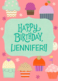 Cupcake Birthday with Name 5x7 Folded Card