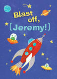 Rocket Ship Birthday with Name 5x7 Folded Card