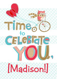 Bike-riding Owl Birthday with Name 5x7 Folded Card