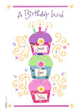 Cupcake Birthday Wish 5x7 Folded Card