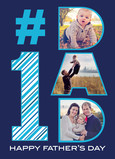 #1 Dad with Stripes and Photos 5x7 Folded Card