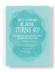 Light Blue 40th Birthday Invitation 5x7 Flat Card