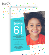 Confetti with Photo Birthday Invitation 5x7 Flat Card
