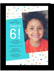 Birthday Confetti Invitation - Blue 5x7 Flat Card