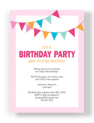 Bunting Banner Birthday Invitation 5x7 Flat Card