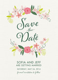 Floral Wreath & Script Save-the-date 5x7 Flat Card