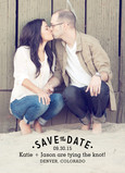 Black Lettering Overlay Save-the-date 5x7 Flat Card