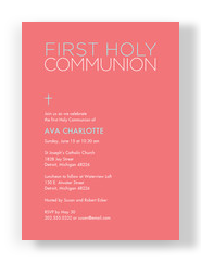Color Block First Communion Invite - Girl 5x7 Flat Card