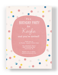 Raindrop Pattern 1st Birthday Girl 5x7 Flat Card