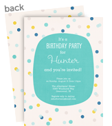 Birthday Polka Dot Pattern - Blue 5x7 Flat Card