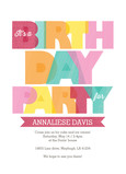 Colorful Lettering Birthday Invite Girl 5x7 Flat Card