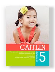 Color Block Photo Invite Girl 5x7 Flat Card