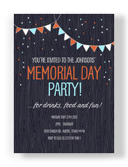 Festive Bunting Memorial Day Invite 5x7 Flat Card