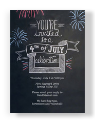 Chalkboard Design 4th of July Invite 5x7 Flat Card