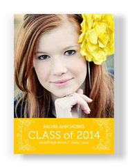 Classic Flourish Grad Announcement Yellow 5x7 Flat Card