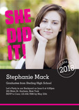 She Did It Photo Grad Invitation 5x7 Flat Card