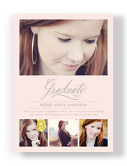 Formal Script Photo Grad Invite 5x7 Flat Card