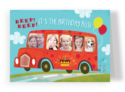Photo Birthday Bus 7x5 Folded Card